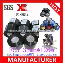 Tipo FC3 30mm * 120m Fineray marca Impresión fecha de caducidad para las bolsas de alimentos de color cinta de lámina térmica