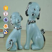 Light blue Lovely Ceramic dog figurines ceramic cute animals figure for home decoration