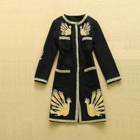 3XL!Top Quality New Luxury Designer Fashion 2015 Autumn Winter Trench Coat Women National Phonix Embroidery Long Trench Coat Big
