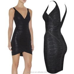 2015 in-alles sexy party girl dress hot sell black foiling bandage dress