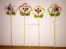promotion design good quality popular easter decoration wooden ladybug picks beetle stick decoration