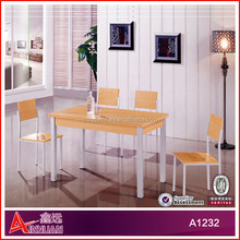 A1232 wooden red oak wooden square wrought iron dinner table