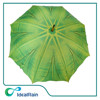 green leaf heat transfer print wood handle rain walker umbrella
