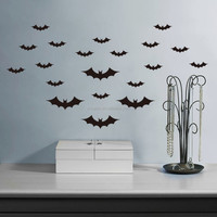 Removable vinyl Bat Wall Decals Halloween wall Sticker HALLOWEEN BATS SET for living room (ZY702)
