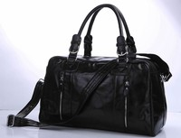 Drop Shipping High Quality Wholesale Multifunctional Fashion Black Color 100% Genuine Leather Travel Luggage Bags #7190A