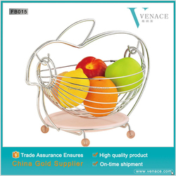 Lovely rabbit fruit basket with silver wire handle
