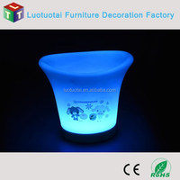 led glowing plastic champagne ice bucket with stand