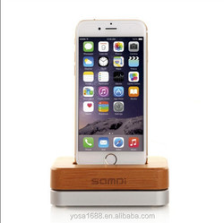 Luxury Original Samdi Wood Birch Aluminum Charger Dock For iPhone 6 5S 5C 4S Wooden Phone Stands Creative Holder