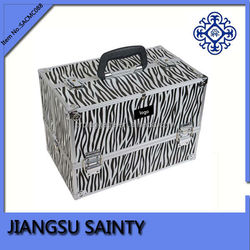 Zebra china wholesale vanity beauty cosmetic makeup case aluminum cosmetic case