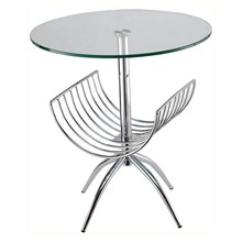 Contemporary chrome steel tempered glass coffee table