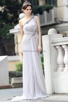 One shoulder light color diamond pleat long chiffon evening dress online shopping/prom dresses 2014
