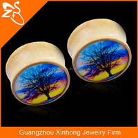 acrylic ear body jewelry,fashion wood body jewelry, natural wood plugs