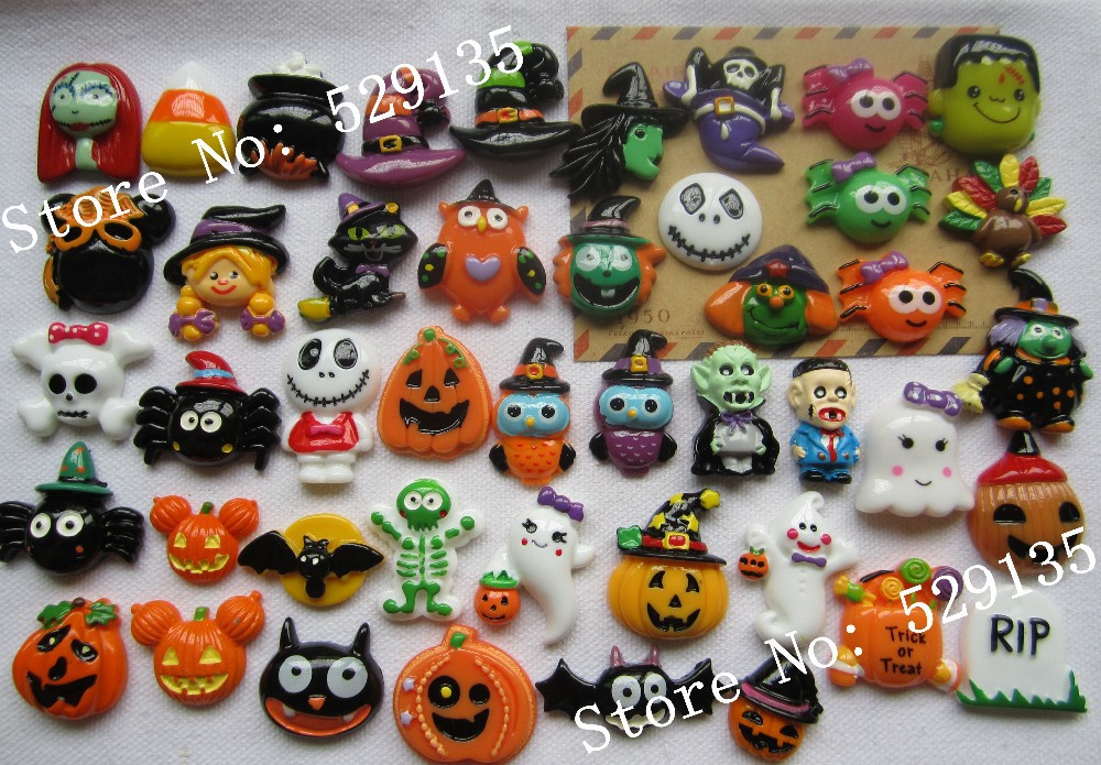 Halloween Hairbow Centres 5 pcs Carved Pumpkin Exclusive Resin Cabochons