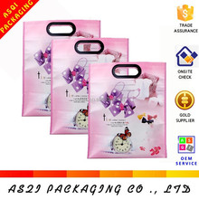100% biodegradable laminated reusable lovely printed pink non-woven bag for shopping