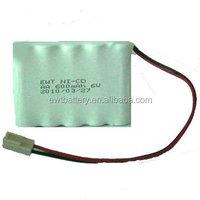 ni-cd aa 600mah 6.0v battery pack