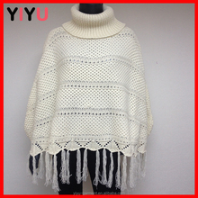 beige turtle neck cape/ western cashmere knitting poncho
