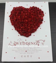 2015 Novel heart design with red rose wholesale wedding guest book party decorations