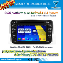 S160 Android 4.4.4 car dvd for W203 old version with Capacitive screen Built in Wifi DDRIII 1G FLASH 16G GPS BT Radio