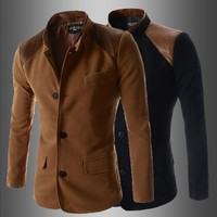 2015 New Fashion Suit Slim Fit Solid Color Patchwork Single Breasted Blazer Outerwear Male Men Suit,Fashion Picks.