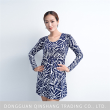 2015 latest mature women round neck printed sweater dress of names different clothing styles