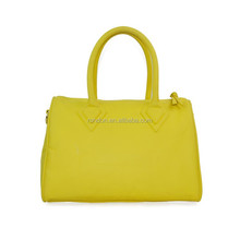 The 2015 classical simple design yellow office lady handbag China supplier pu leather women bags