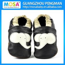Newborn Boy Black Shoes With Beige Elephant Pattern ,Infant Boy Soft Sole Shoes