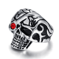 Fashion Stainless Steel Indian Diamond Men's Skull Wedding Ring