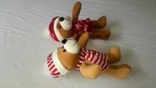 Custom plush toys Christmas teddy bear with hat and scarf
