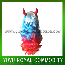 Rainbow Party Decoration Long Curl Synthetic Hair Wigs