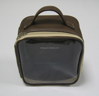 square PU leather cosmetic bag with PVC front panel