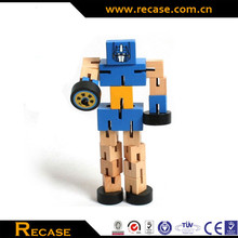 Foldable Wooden Robot Toys, Deformation Robot Wooden Cube Man