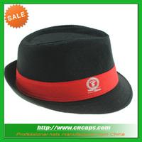 Short brim felt fedora hat with logo for promotions