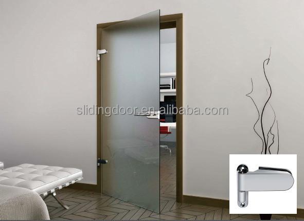 elegante pivote puerta de cristal sin marco