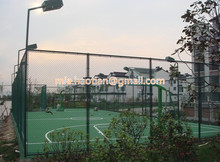 5mm diameter diamond shape chain link fence dark green RAL6005 PVC coated playground boundary fence