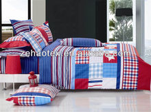 fashionable blue and red with striped design cotton fabric bedding sets for cheap for teen boys