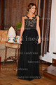 2014 vestidos de venda quente de manga curta de renda pura pescoço sexy vestido de tule preto vestidos de noite formais bo3109