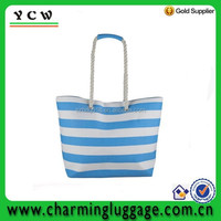 Promotional rope handle stripe canvas beach tote bag