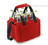 Insulated twelve 12 pack neoprene beer tote cooler carrying bag