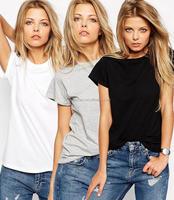 2016 Summer fashion loose casual white black plain women white tee shirt models short sleeve blouse 100% cotton shirt