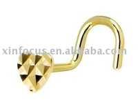 Attractive heart design gold plated Stainless steel body jewelry nose ring