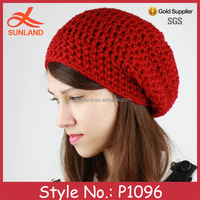 P1096 acrylic popular custom knitted women winter beanie hat wholesale