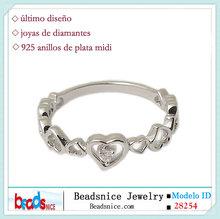 Beadsnice ID con forma de mujer 925 anillo de plata diamante midi 28,254 corazón al por mayor