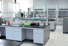 Science laboratory island bench with reagent shelf