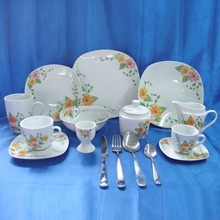Eco square shape french style fancy flower decorated fine royal porcelain dinnerware set direct buy china