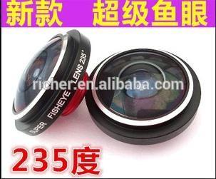Más avanzado súper círculo con clip lente ojo de pez 235 degree efecto de ojo de pez cámara del teléfono móvil externa len