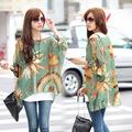 2014 nueva moda estilo bohemio manga murciélago impresa camisa suelta blusa de gasa tapas para las mujeres 19694