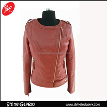 High quality women Fashion PU Leather Jacket Zipper slim Coat
