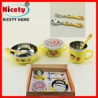 Hello kitty Child handle Rice Bowl Gift Set with Stainless Steel