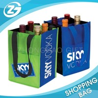 Printed Logo 80gsm Durable Strong Eco Friendly 4 or 6 Bottles Non-woven Wine Bag