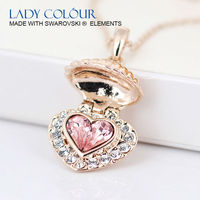 L0046 Pretty Heart Pink Crystal Design Necklace Zinc Alloy 18K Rose Gold Plated With Austria Crystal Jewelry Necklace Wholesale